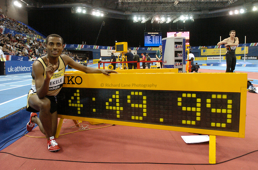 Photo: Richard Lane..Norwich Union Indoor Grand Prix, Birmingham. 17/02/2007. .Ethiopia's Kenenisa Bekele celebrates breaking the world record for the men's 2000m in a time of 4 minutes 49.99 seconds.