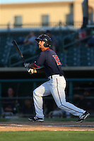 James Ramsay (15) of the Lancaster JetHawks bats during a game against the Visalia Rawhide at The Hanger on June 16, 2015 in Lancaster, California. Lancaster defeated Visalia, 11-3. (Larry Goren/Four Seam Images)