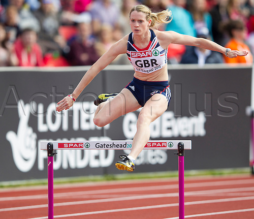 22.06.2013 Gateshead, England.  Eilidh Child (GBR) enroute to winning the 400m Hurdles during the European Athletics Team Championships from the Gateshead International Stadium.