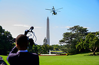 Marine One, with United States President Donald J. Trump aboard, departs the South Lawn of the White House in Washington, DC taking the President out-of-town to spend a week at the Trump National Golf Club Bedminster in Bedminster, New Jersey on Friday, August 9, 2019.<br /> CAP/MPI/RS<br /> ©RS/MPI/Capital Pictures
