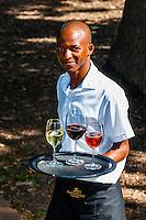 Waiter carrying tray of wine glasses, Terrori Restaurant,  Kleine Zalze Wines, Stellenbosch, Cape Winelands, South Africa.