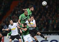 FUSSBALL   1. BUNDESLIGA  SAISON 2011/2012  30. SPIELTAG 10.04.2012 SV Werder Bremen - Borussia Moenchengladbach  Naldo (Mitte, SV Werder Bremen)erzielt das Tor zum 2-2 Ausgleich gegen Martin Stranzl (re, Borussia Moenchengladbach) und Roel Brouwers (li, Borussia Moenchengladbach) mit Claudio Pizarro (Mitte, unten, SV Werder Bremen) und Sokratis Papastathopoulos (oben MItte,  SV Werder Bremen)