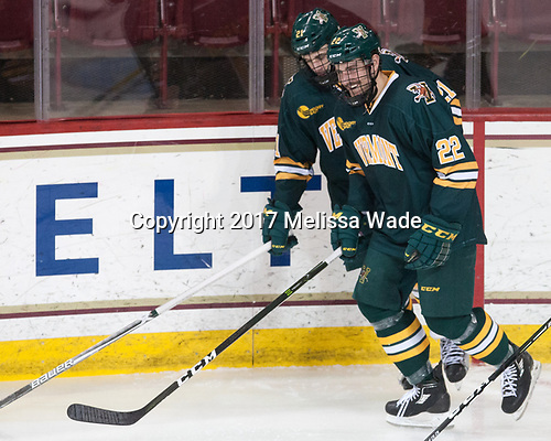 Mario Puskarich (UVM - 21), Brady Shaw (UVM - 22) - The visiting University of Vermont Catamounts tied the Boston College Eagles 2-2 on Saturday, February 18, 2017, Boston College's senior night at Kelley Rink in Conte Forum in Chestnut Hill, Massachusetts.Vermont and BC tied 2-2 on Saturday, February 18, 2017, Boston College's senior night at Kelley Rink in Conte Forum in Chestnut Hill, Massachusetts.
