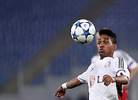 Calcio, Champions League, Gruppo E: Roma vs Bayer Leverkusen. Roma, stadio Olimpico, 4 novembre 2015.<br /> Bayer Leverkusen's Wendell eyes the ball during a Champions League, Group E football match between Roma and Bayer Leverkusen, at Rome's Olympic stadium, 4 November 2015.<br /> UPDATE IMAGES PRESS/Isabella Bonotto