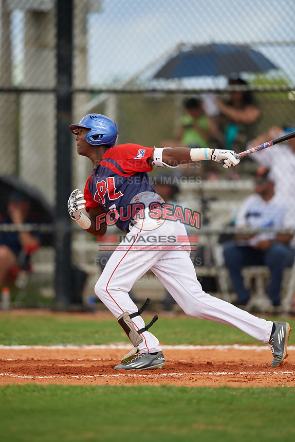 Jose Rodriguez (7) during the Dominican Prospect League Elite Florida Event at Pompano Beach Baseball Park on October 14, 2019 in Pompano beach, Florida.  (Mike Janes/Four Seam Images)