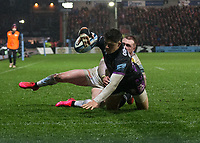 Gloucester's Louis Rees-Zammit scores his sides second try<br /> <br /> Photographer Bob Bradford/CameraSport<br /> <br /> Gallagher Premiership - Gloucester Rugby v Exeter Chiefs - Friday 14th February 2020 - Kingsholm Stadium - Gloucester<br /> <br /> World Copyright © 2020 CameraSport. All rights reserved. 43 Linden Ave. Countesthorpe. Leicester. England. LE8 5PG - Tel: +44 (0) 116 277 4147 - admin@camerasport.com - www.camerasport.com