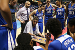 04 March 2016: Duke head coach Joanne P. McCallie (center) talks to her team. The Duke University Blue Devils played the University of University of Notre Dame Fighting Irish at the Greensboro Coliseum in Greensboro, North Carolina in an Atlantic Coast Conference Women's Basketball Tournament Quarterfinal and a 2015-16 NCAA Division I Women's Basketball game. Notre Dame won the game 83-54.