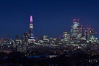 LONDON, 4 December 2018 &ndash; Shard Lights is back for another year with an eye-catching new display reflecting the changing colours of the London sky. The annual festive light show launched on (Monday 3 December 2018 at 18:45 transforming the top 20-storeys of The Shard into a colourful spectacle that will illuminate the skyline and be visible across London.<br /> The theme this year is &lsquo;reflection&rsquo;, which has been inspired by the vast array of images shared by the general public on social media platforms of The Shard against the London sky. Throughout December, the 30-minute show will run through a day&rsquo;s worth of colour &ndash; from golden sunrises to the pinks of sunset and finally to the dark blue of the night sky &ndash; every half an hour from 4pm to 1am.<br /> On 31st December, there will be a special one-off spectacle to celebrate New Year&rsquo;s Eve. When the clock strikes midnight, the spire will illuminate white in time to the chimes of Big Ben before emulating the capital&rsquo;s amazing firework display, marking the transition to 2019.<br /> CAP/PLF<br /> Image supplied by Capital Pictures