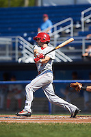 Auburn Doubledays shortstop Clayton Brandt (3) at bat during the first game of a doubleheader against the Batavia Muckdogs on September 4, 2016 at Dwyer Stadium in Batavia, New York.  Batavia defeated Auburn 1-0 in a continuation of a game started on August 13. (Mike Janes/Four Seam Images)