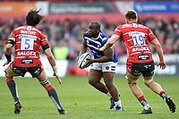 Beno Obano of Bath Rugby in possession. Gallagher Premiership match, between Gloucester Rugby and Bath Rugby on April 13, 2019 at Kingsholm Stadium in Gloucester, England. Photo by: Patrick Khachfe / Onside Images