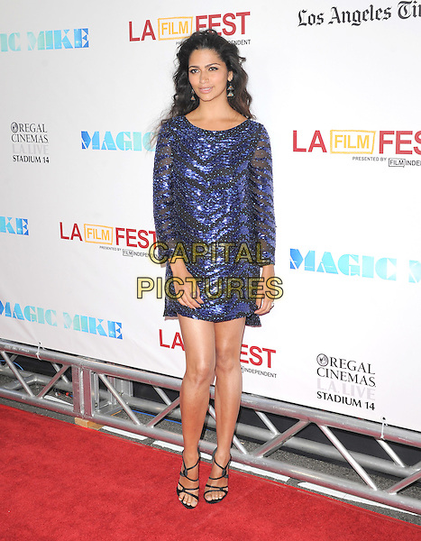 Camila Alves McConaughey .World Premiere of 'Magic Mike' and Closing Night of Los Angeles Film Festival held at   The Regal Cinemas L.A. LIVE Stadium 14 in Los Angeles, California, USA..June 24th, 2012.LAFF full length blue sheer sequins sequined dress  strappy black sandals .CAP/RKE/DVS.©DVS/RockinExposures/Capital Pictures.