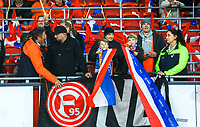 Deutsche Fans haben ihr Fortuna Düsseldorf/Neuss Banner am Rande der niederländischen Kurve an ihren Plätzen aufgehängt und werden von den Ordnern aufgefordert dieses sofort zu entfernen - 24.03.2019: Niederlande vs. Deutschland, EM-Qualifikation, Amsterdam Arena, DISCLAIMER: DFB regulations prohibit any use of photographs as image sequences and/or quasi-video.