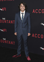 """HOLLYWOOD, CA - OCTOBER 10:  Rio Mangini at the Los Angeles world premiere of """"The Accountant"""" at TCL Chinese Theater on October 10, 2016 in Hollywood, California. Credit: mpi991/MediaPunch"""