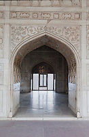 Agra, India.  Agra Fort, Musammam Burj Pavilion Arch.