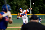 WATERBURY, CT-0712917JS14-- Wolcott's Justin Butterworth (4) delivers a pitch during their Mickey Mantle World Series game against Toronto Saturday at Municipal Stadium in Waterbury. <br /> Jim Shannon Republican-American