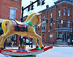 "A view of one of the 35 Artist painted Rocking Horses on display around Saugerties, NY as part of the Chamber of Commerce sponsored Art in the Village Project titled ""Rockin' Around Saugerties."" This photo taken on Friday, May 26, 2017. Photo by Jim Peppler. Copyright/Jim Peppler-2017."