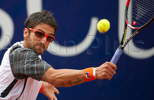 13.07.2012. Stuttgart, Germany.  Serbia's Janko Tipsarevic plays against Germany's Phau in the quarter finals of the ATP Tournament at Weissenhof in Stuttgart, Germany, 13 July 2012.