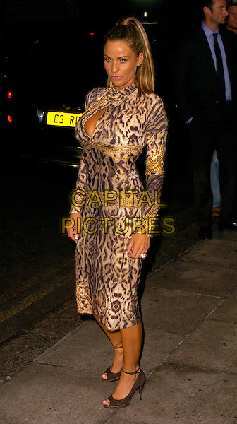 JORDAN - KATIE PRICE.The Gina Shoes 50th Anniversary Party, Dorchester Hotel, London, UK..September 19th, 2006.Ref: CAN.full length brown animal print dress gold .www.capitalpictures.com.sales@capitalpictures.com.©Can Nguyen/Capital Pictures