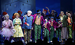 Emma Pfaeffle, Jackie Hoffman, John Rubinstein, Christian Borle, Jake Ryan Flynn, Ryan Sell, Ryan Foust, Emily Padgett, Michael Wartella and cast during the Broadway Opening Performance Curtain Call of 'Charlie and the Chocolate Factory' at the Lunt-Fontanne Theatre on April 23, 2017 in New York City.