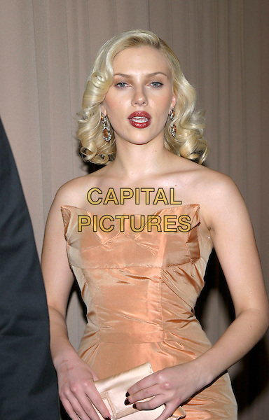SCARLETT JOHANSSON.Miramax , Coors Light, AMC & Glamour Magazine present the 2005 Golden Globes After Party held Trader Vic's in the Beverly Hilton Hotel, Beverly Hills, California, USA, 16 January 2005..half length orange peach strapless dress.Ref: ADM.www.capitalpictures.com.sales@capitalpictures.com.©Jacqui Wong/AdMedia/Capital Pictures .