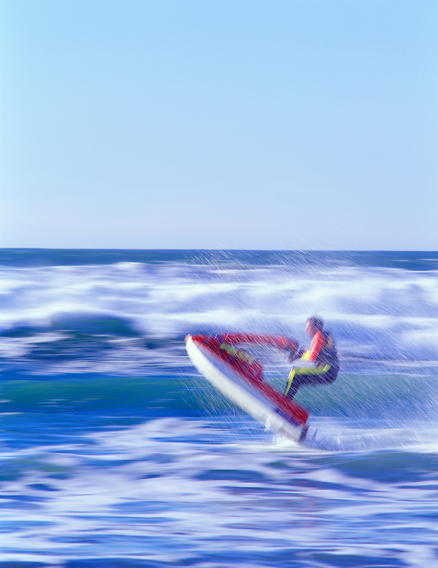 Jet sled on ocean at cape Kiwanda, Oregon.