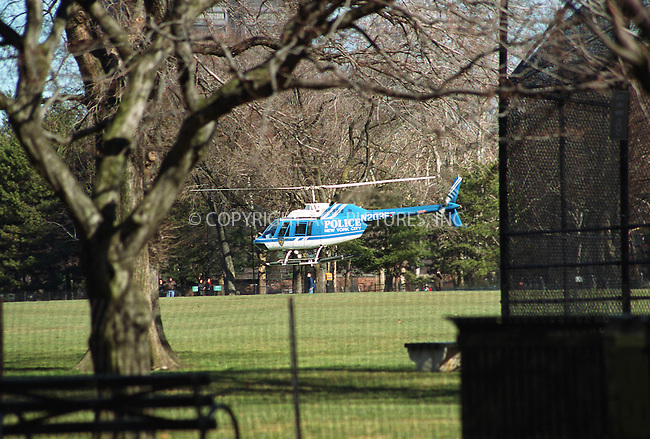 Police chopper flies very low in New York's Central Park. New York police is on full alert due to the ongoing World Economic Forum in New York City. February 2, 2002. © 2002 by Alecsey Boldeskul/NY Photo Press.  ONE-TIME REPRODUCTION RIGHTS.       ....New York Photo Press   ..tel: (646) 267-6913    ..e-mail: info@nyphotopress.com