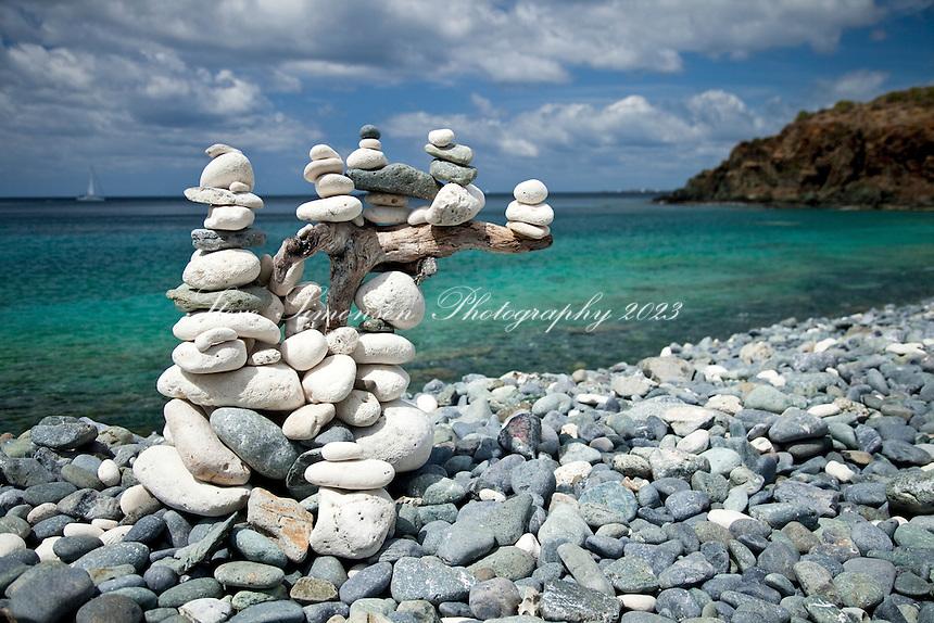 Rock Cairns dotting the trail<br /> Ram Head Trail<br /> past Salt Pond Bay<br /> St. John<br /> U.S. Virgin Islands