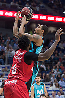 Movistar Estudiantes Sylven Landesberg and Montakit Fuenlabrada Gabe Olaseni during Liga Endesa match between Movistar Estudiantes and Montakit Fuenlabrada at Wizink Center in Madrid, Spain. November 12, 2017. (ALTERPHOTOS/Borja B.Hojas) /NortePhoto.com