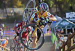 October 17, 2015 - Boulder, Colorado, U.S. - Men's elite cyclist, Allen Krughoff #4, tops the steep run-up during the U.S. Open of Cyclocross, Valmont Bike Park, Boulder, Colorado.