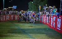 Lars Van der Haar (NLD/Giant-Shimano) does what he does best; sprinting out of the startgrid and leaving everybody else behind from the get-go<br /> <br /> Cross Vegas 2014