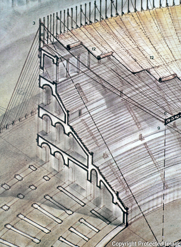 Diagram showing canopy and awning used to cover seating at the Roman Colosseum, Rome, Italy. Posts along the top held up the canopy with rope and rigging--a full complement of sailors was needed to fly and control the canopy