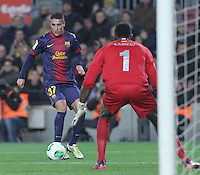 16.01.2013 Barcelona, Spain. Spanish Cup, quarter-final first leg. Picture show  Tello in action during game FC Barcelona v Malaga at Camp Nou.
