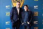 "Tv Hosts Michael Robinson and Raul Ruiz during the presentation of the new tv program #0 of Movistar+ ""Caos FC"" at Ciudad del Futbol of Las Rozas in Madrid. November 21, Spain. 2016. (ALTERPHOTOS/BorjaB.Hojas)"