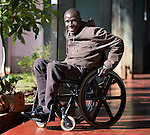 Forai Tapambwa outside the Harare offices of the Spinal Injuries Association of Zimbabwe, which supports and advocates for the rights of people living with spinal injuries. He uses an appropriately-designed and fitted wheelchair provided by the Jairos Jiri Association with support from CBM-US.