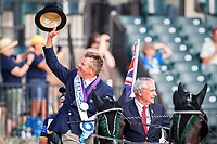 GOLD MEDAL: AUS-Boyd Exell, with the FEI President, Igmar de Vos riding shotgun. The FEI World Individual Driving Championship - Medal Ceremony. 2018 FEI World Equestrian Games Tryon. Sunday 23 September. Copyright Photo: Libby Law Photography