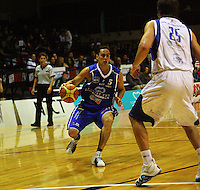 Troy McLean looks to get around Adrian Majstrovich during the NBL Round 14 basketball match between the Wellington Saints and Auckland Stars at TSB Bank Arena, Wellington, New Zealand on Thursday 29 May 2008. Photo: Dave Lintott / lintottphoto.co.nz