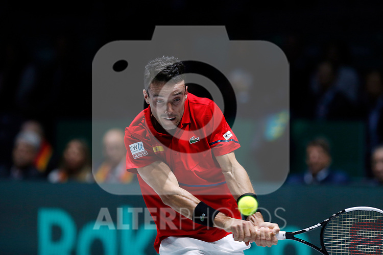 Roberto Bautista Agut of Spain plays a backhand against Roberto Bautista Agut of Spain during Day 2 of the 2019 Davis Cup at La Caja Magica on November 19, 2019 in Madrid, Spain. (ALTERPHOTOS/Manu R.B.)