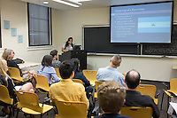 """Lili Rodriguez '16 presents """"An Analysis of Alternativa's Microcredit Program and How it Impacts the Community of Masaya, Nicaragua."""" After researching all summer, Occidental College students present their work at the annual Summer Undergraduate Research Conference on July 29, 2015.<br /> (Photo by Marc Campos, Occidental College Photographer)"""