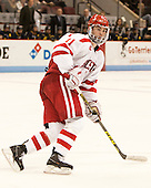 Mike Moran (BU - 11) - The Boston University Terriers defeated the visiting Merrimack College Warriors 4-0 (EN) on Friday, January 29, 2016, at Agganis Arena in Boston, Massachusetts.