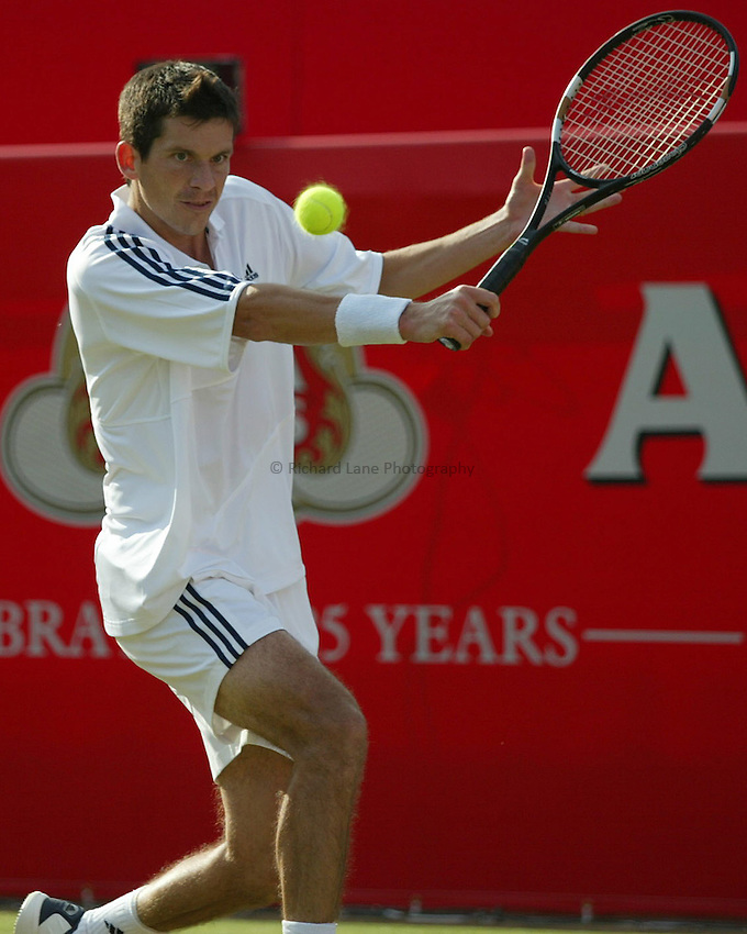Photograph: Scott Heavey..Day 4 of the Stella Artois Championship at the Queens Club. 12/06/2003..Tim Henman