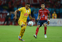 MEDELLIN - COLOMBIA, 3-09-2017 .John Freddy Pajoy jugador del Independiente Santa Fe en acción contra el Independiente Medellín..Independiente Medellín e Independiente Santa Fe  en partido por la fecha 11 de la Liga Aguila II 2017 jugado en el estadio Atanasio Girardot de la ciudad de Medellín. / John Freddy Pajoy players of Independiente Santa Fe  in actions  agaisnt of Independiente Medellin.Independente Medellin and Independiente Santa Fe  in match for the date 11 of the Liga Aguila II 2017 played at the Atanasio Girardot Stadium in Medellin city. Photo: Vizzorimage / León Monsalve / Contribuidor