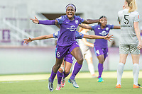 Orlando, FL - Sunday May 14, 2017: Chioma Ubogagu celebrates her 1st goal. during a regular season National Women's Soccer League (NWSL) match between the Orlando Pride and the North Carolina Courage at Orlando City Stadium.