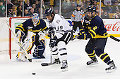Joe Cannata (Merrimack - 35), Phil DeSimone (UNH - 39), Fraser Allen (Merrimack - 2) - The Merrimack College Warriors defeated the University of New Hampshire Wildcats 4-1 (EN) in their Hockey East Semi-Final on Friday, March 18, 2011, at TD Garden in Boston, Massachusetts.