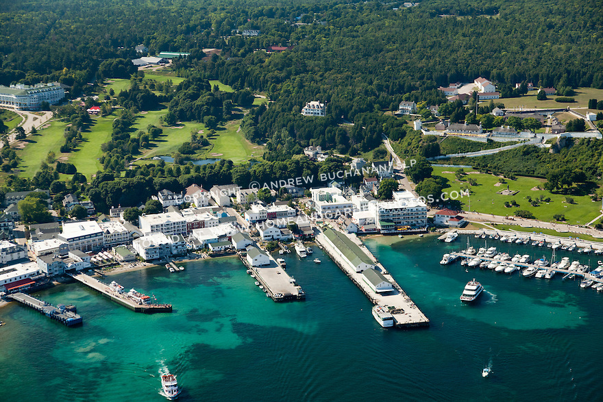 Mackinac Island Harbor, Docks, and Village