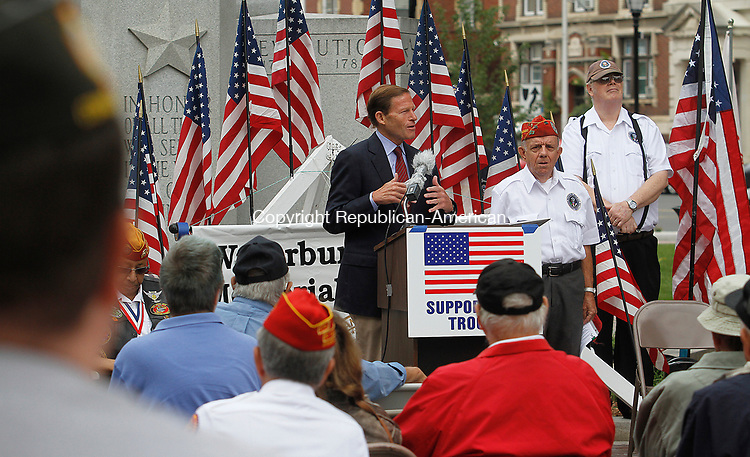 WATERBURY, CT - 29 JULY 2017 - 072917JW08.jpg -- Sen. Richard Blumenthal, D-Conn talks about how the issue of North Korea is still ongoing after the country's latest missle test during the Korean War Remembrance Day Ceremony Saturday morning on the Waterbury Green.  Jonathan Wilcox Republican-American