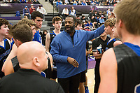 Rogers head coach Lamont Frazier talks to his players during a basketball game, Friday, January 10, 2020 at Fayetteville High School in Fayetteville. Check out nwaonline.com/200111Daily/ for today's photo gallery.<br /> (NWA Democrat-Gazette/Charlie Kaijo)