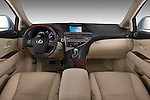 Straight dashboard view of a 2010 Lexus RX 450h.