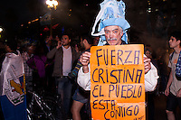 People gather to celebrate the 'Dia de la Lealtad' (Loyalty Day of the Peronism) and to support Argentina's President Cristina Fernandez de Kirchner in Buenos Aires on October 17, 2013. Photo by Juan Gabriel Lopera/ VIEWpress.