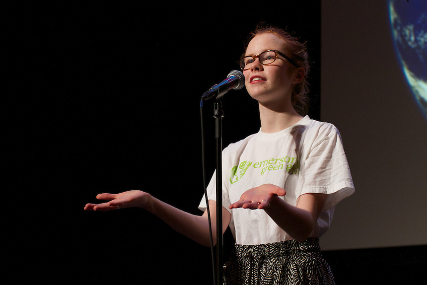 Maggie Dunleavy '17 does spoken word poetry at the Green Gala.