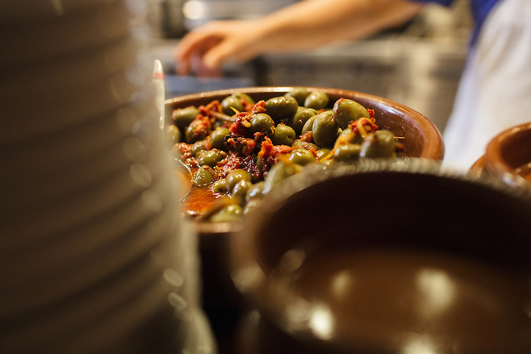 Durham, North Carolina - Friday October 30, 2015 - Olives in the kitchen at Mateo in Durham, NC.